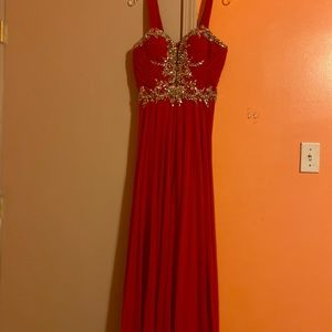 Long Red Jovani Prom Dress